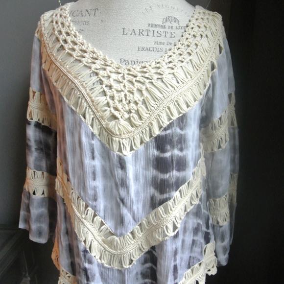 Jessica Taylor New York Other - Blue Tie Dye Crochet Shawl